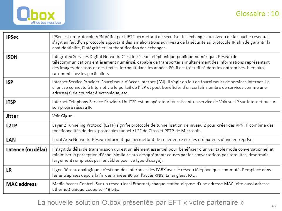 Glossaire : 10 IPSec.