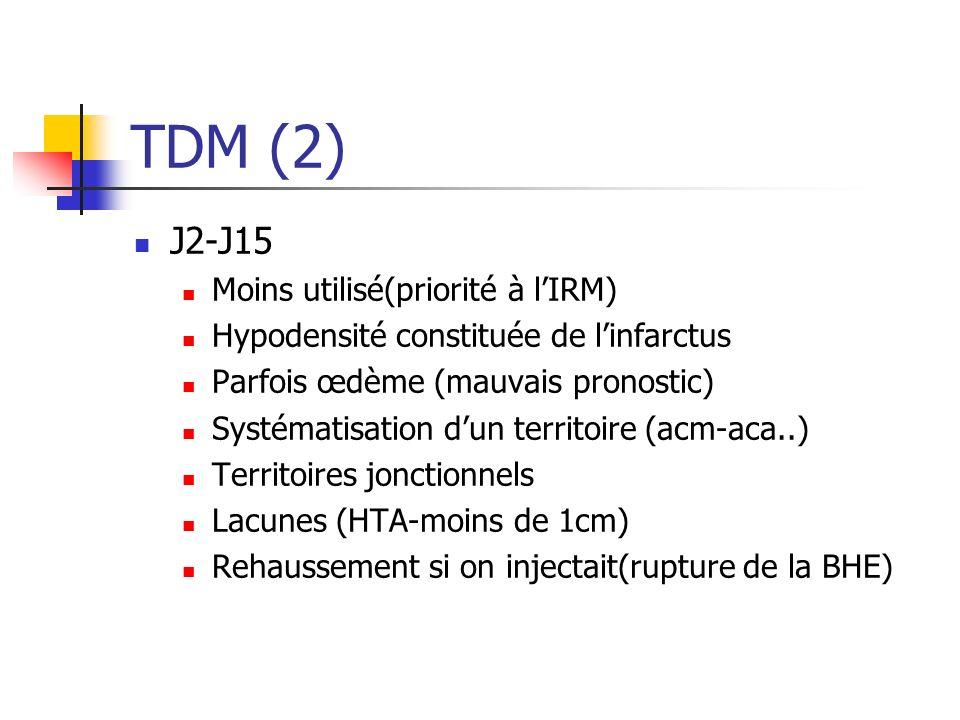 TDM (2) J2-J15 Moins utilisé(priorité à l'IRM)