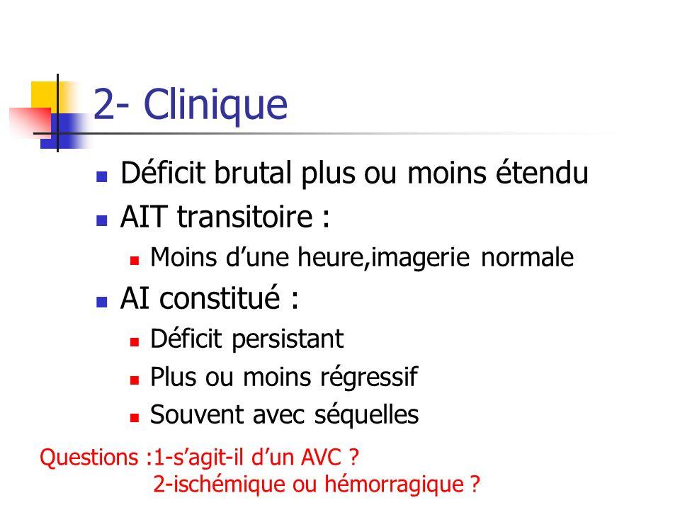 2- Clinique Déficit brutal plus ou moins étendu AIT transitoire :