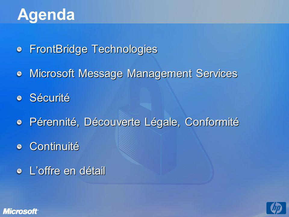 Agenda FrontBridge Technologies Microsoft Message Management Services