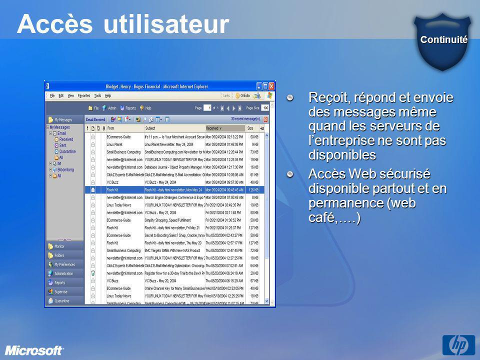 Accès utilisateur Continuité. Reçoit, répond et envoie des messages même quand les serveurs de l'entreprise ne sont pas disponibles.