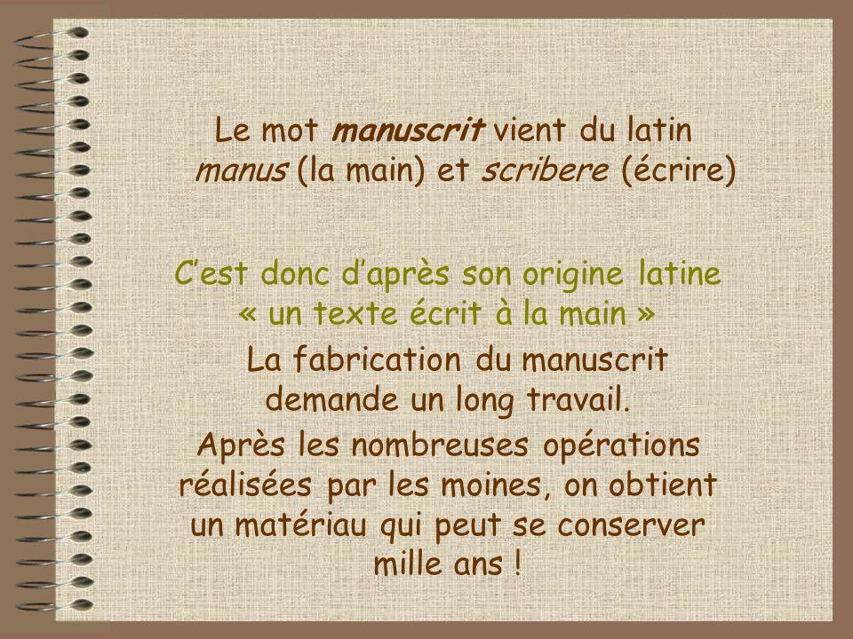 Le mot manuscrit vient du latin manus (la main) et scribere (écrire)