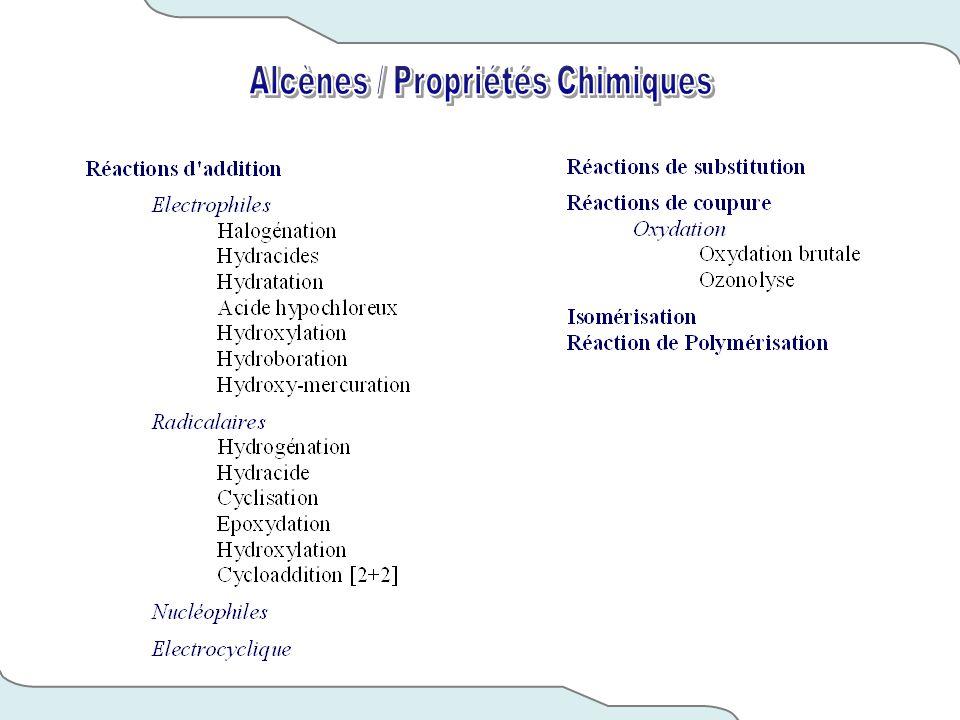 Alcènes / Propriétés Chimiques