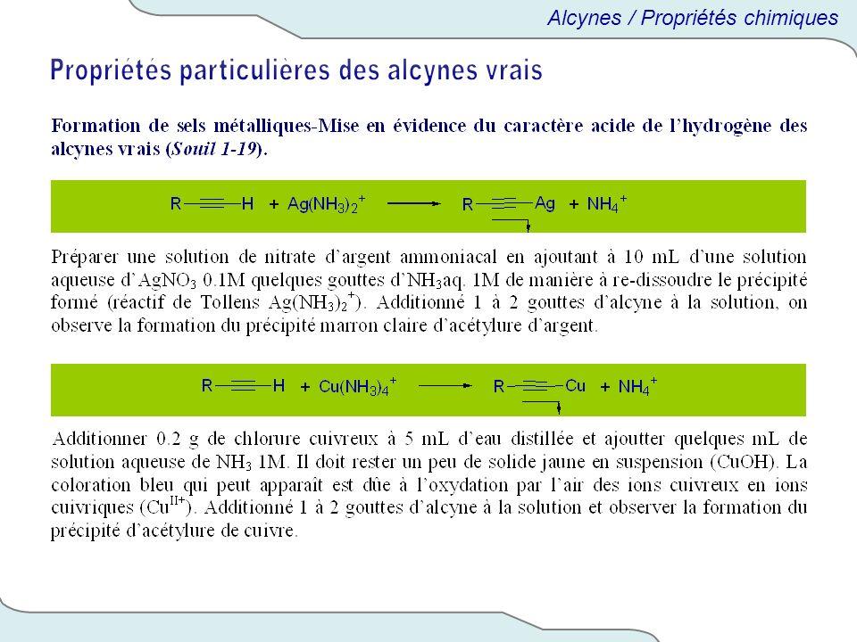 Propriétés particulières des alcynes vrais