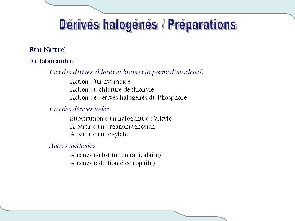 Dérivés halogénés / Préparations