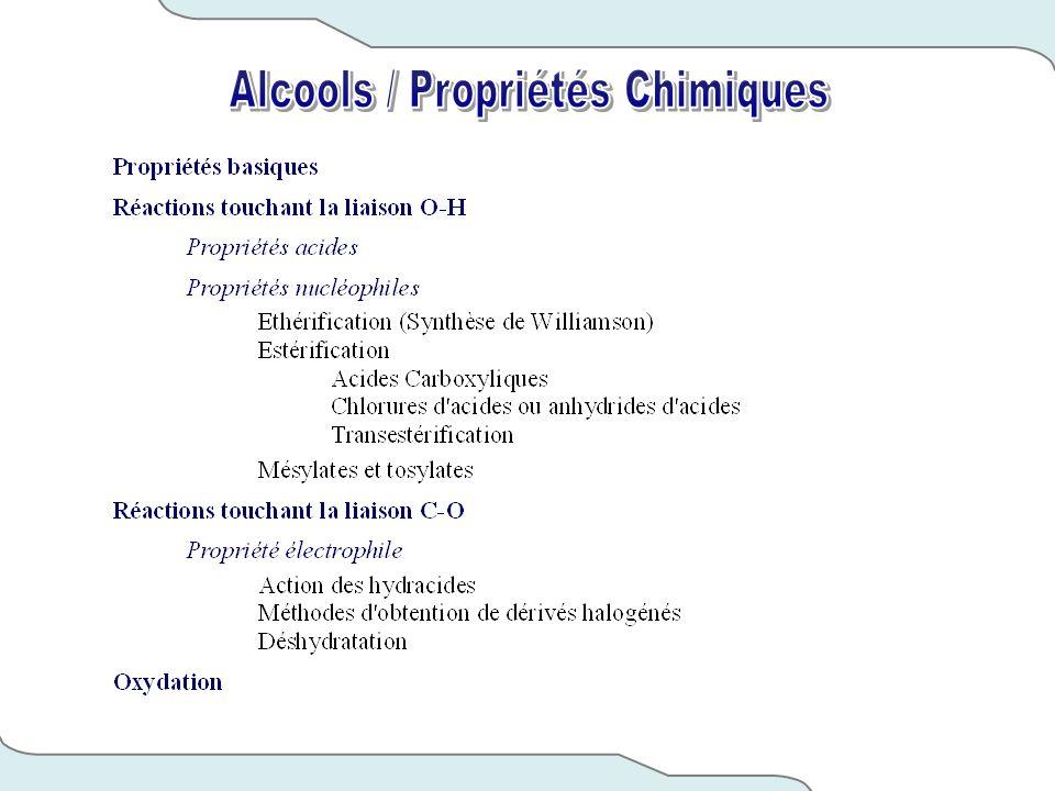 Alcools / Propriétés Chimiques