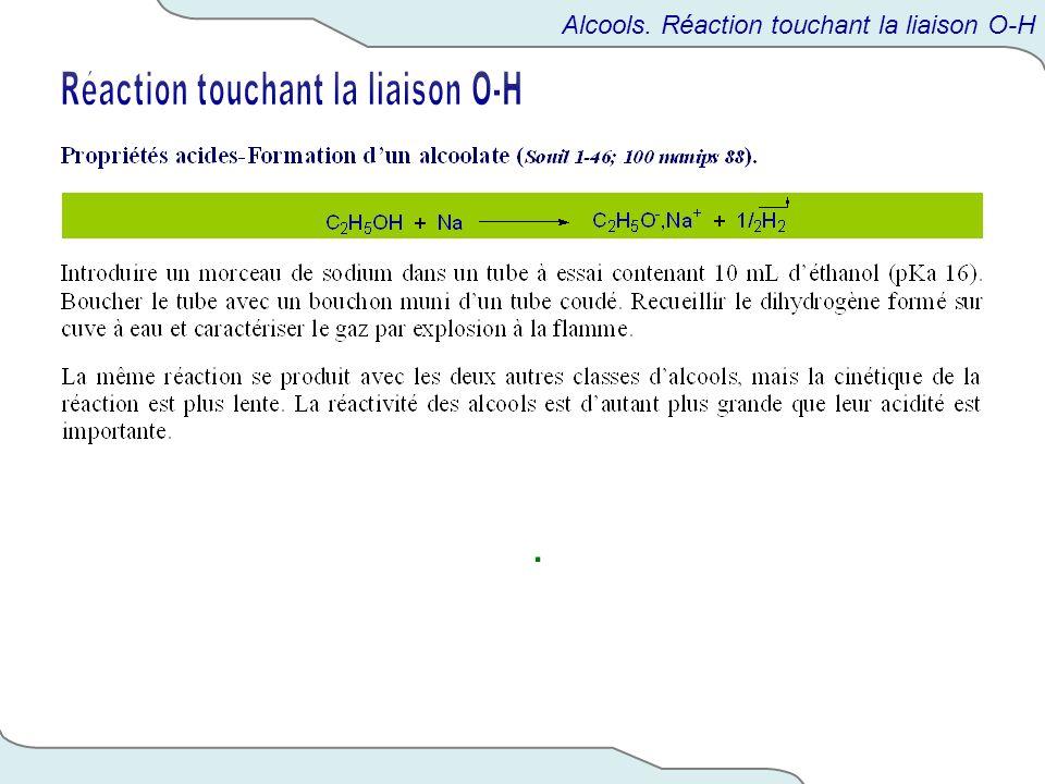 Réaction touchant la liaison O-H