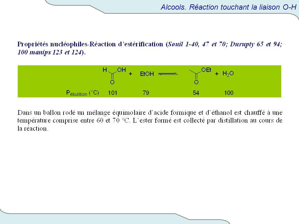 Alcools. Réaction touchant la liaison O-H