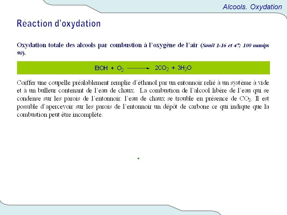 Alcools. Oxydation Réaction d oxydation .