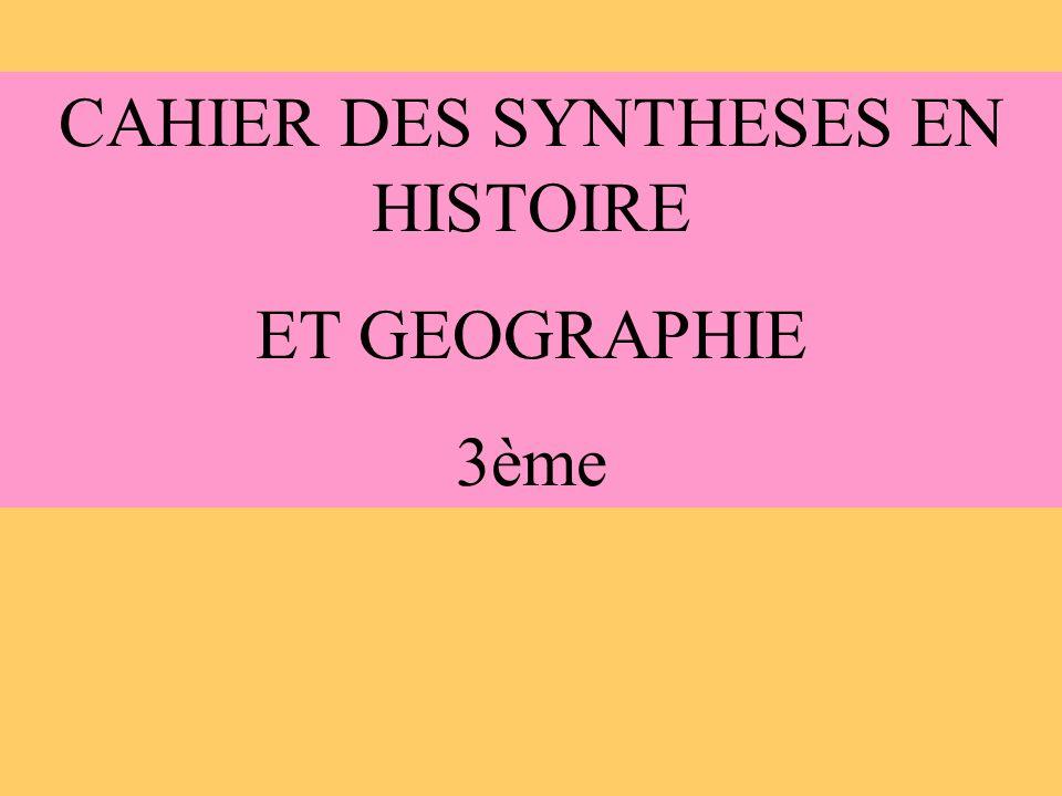 CAHIER DES SYNTHESES EN HISTOIRE