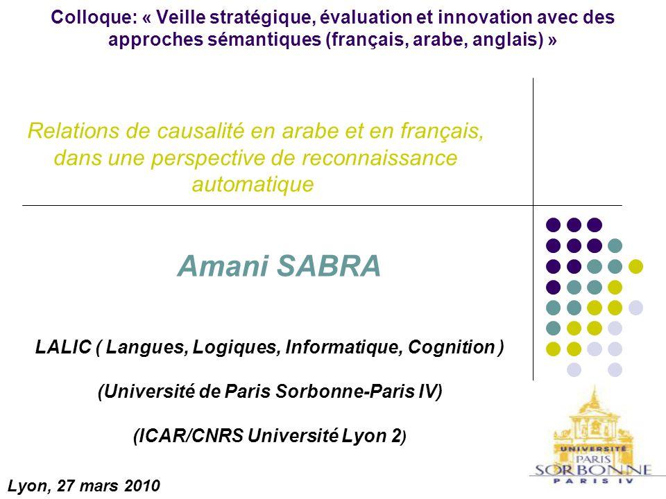 Colloque: « Veille stratégique, évaluation et innovation avec des approches sémantiques (français, arabe, anglais) »