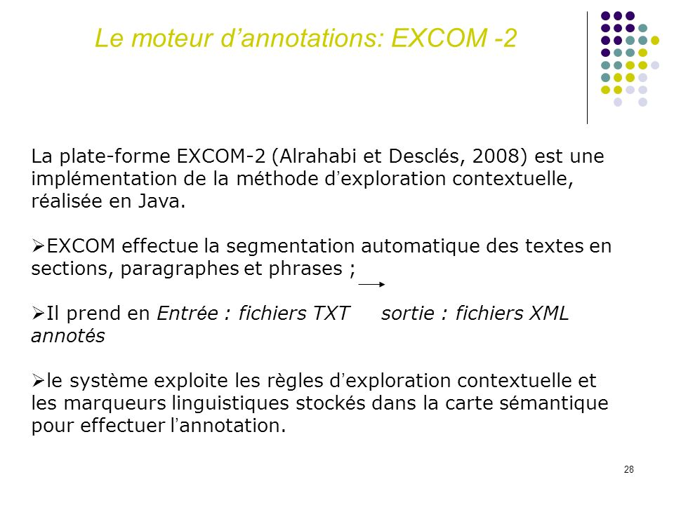 Le moteur d'annotations: EXCOM -2