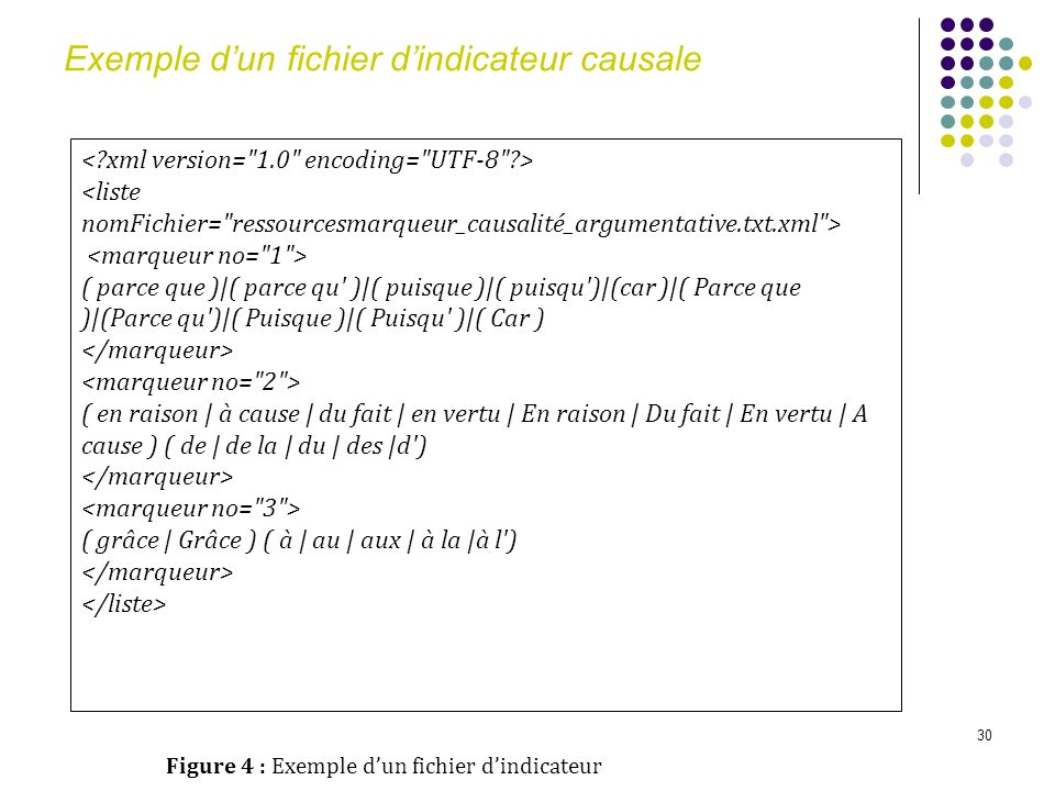 Exemple d'un fichier d'indicateur causale