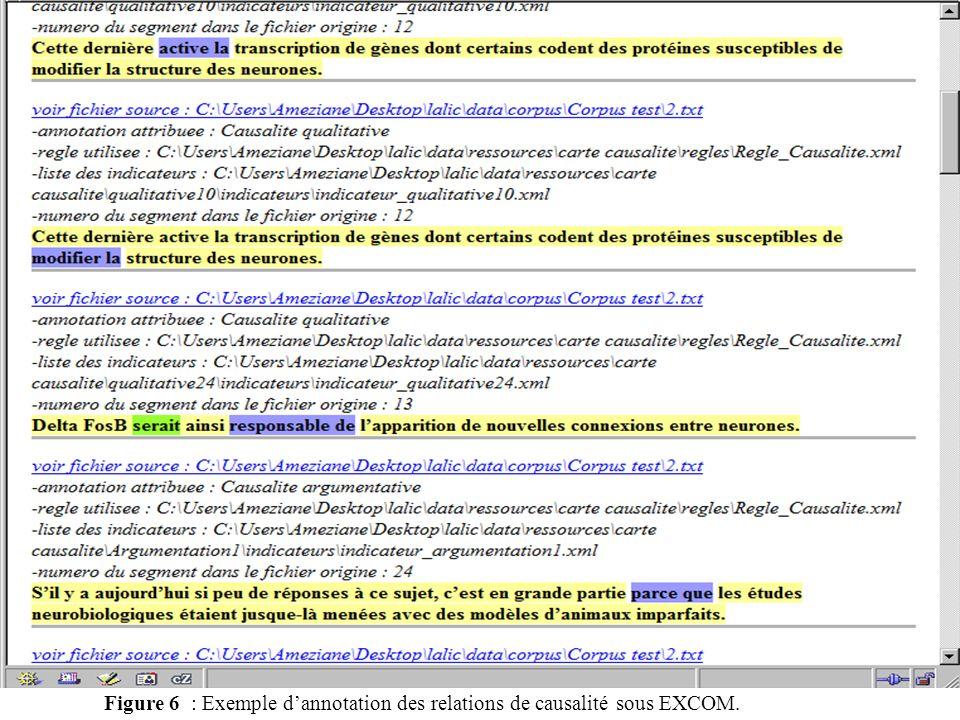 Figure 6 : Exemple d'annotation des relations de causalité sous EXCOM.