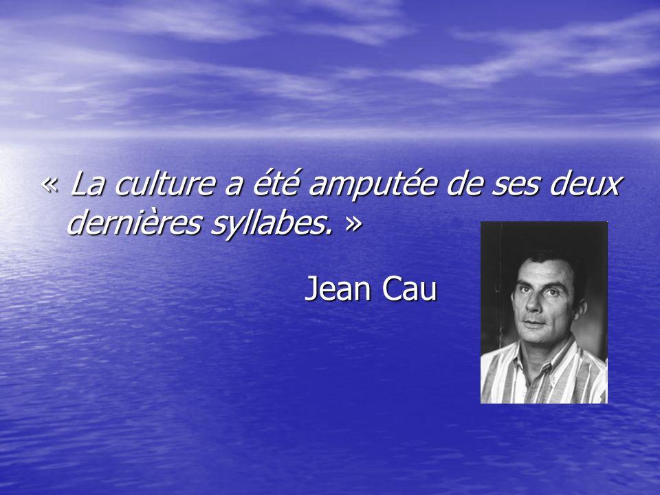 « La culture a été amputée de ses deux dernières syllabes. »