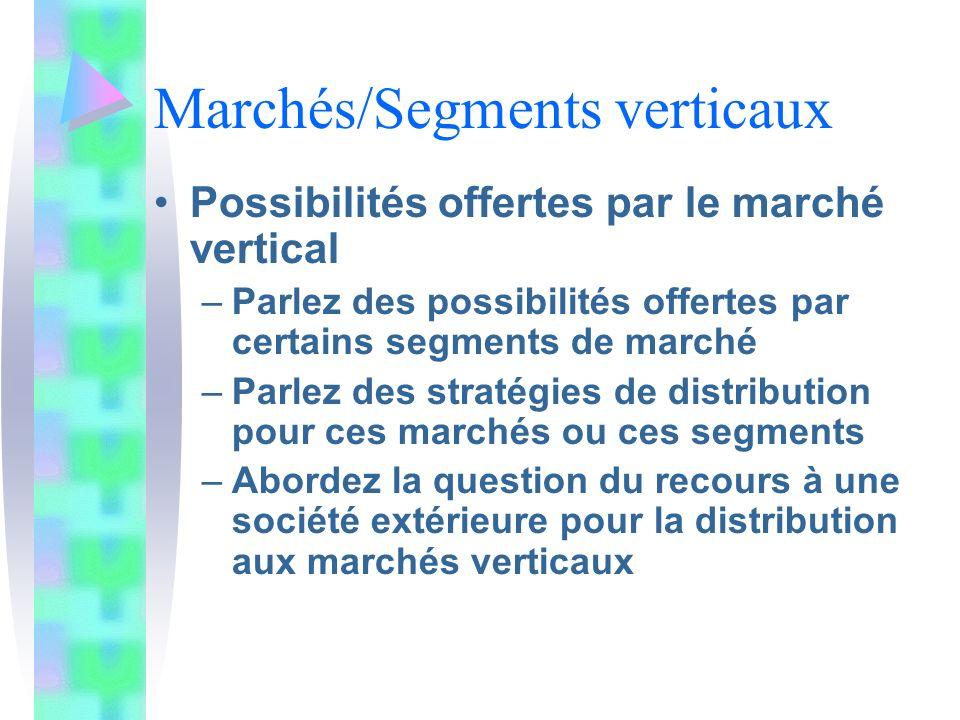 Marchés/Segments verticaux
