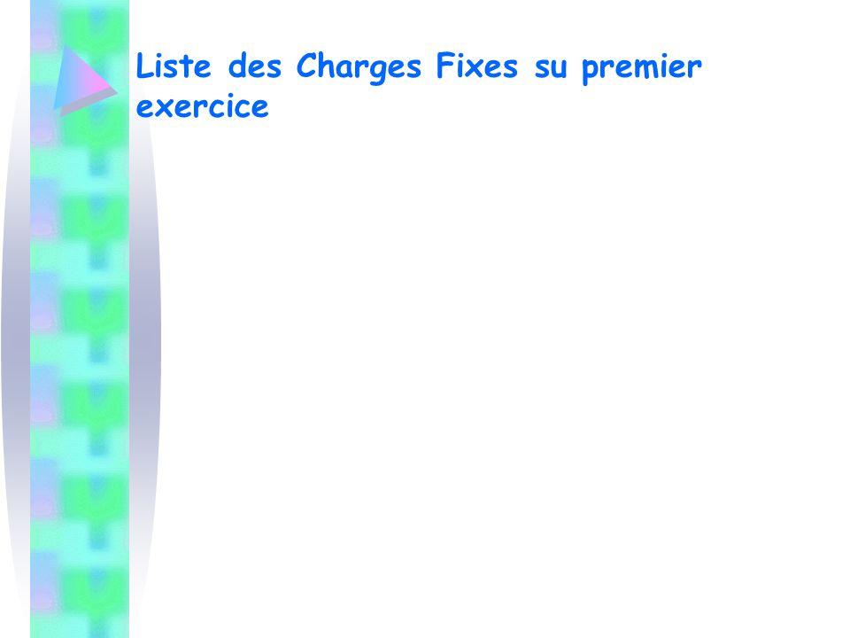 Liste des Charges Fixes su premier exercice