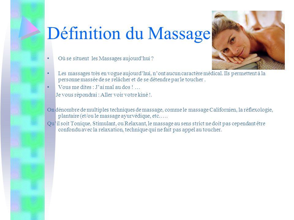 Définition du Massage Où se situent les Massages aujourd'hui