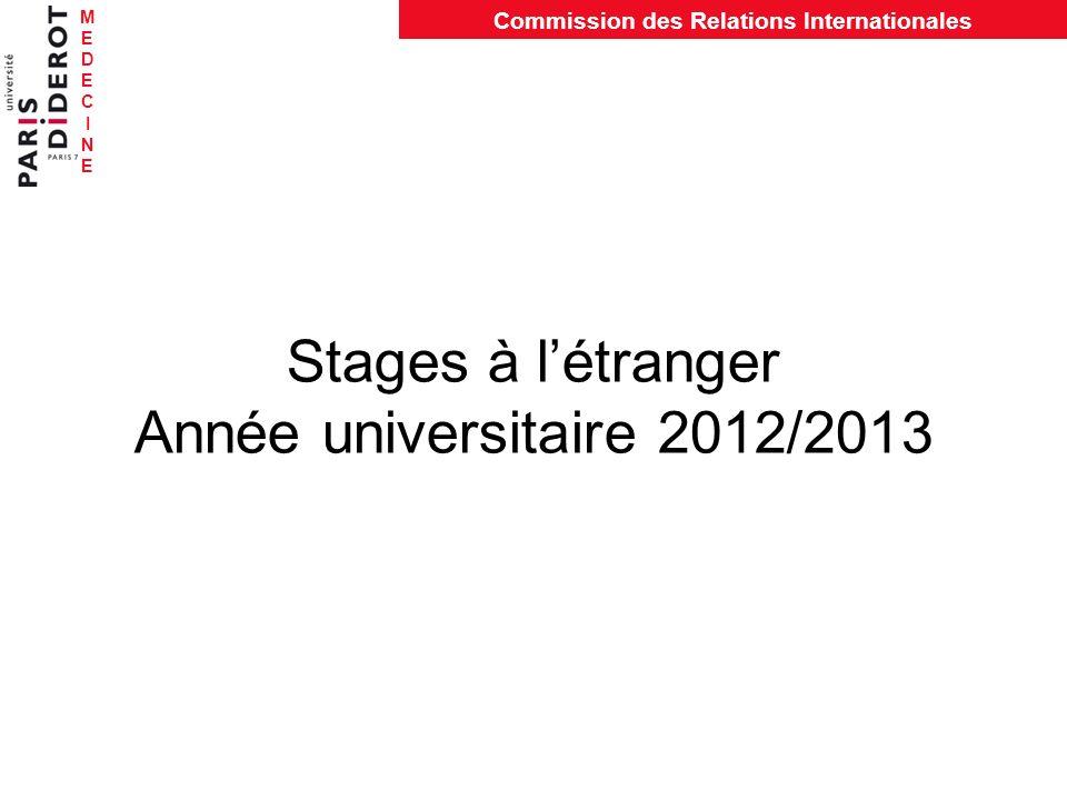 Stages à l'étranger Année universitaire 2012/2013