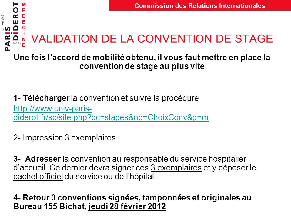 VALIDATION DE LA CONVENTION DE STAGE
