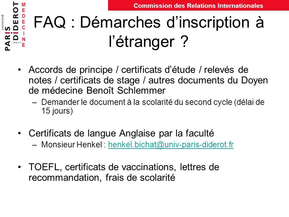 FAQ : Démarches d'inscription à l'étranger