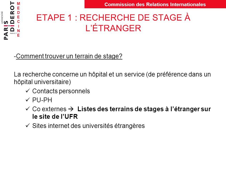 ETAPE 1 : RECHERCHE DE STAGE À L'ÉTRANGER