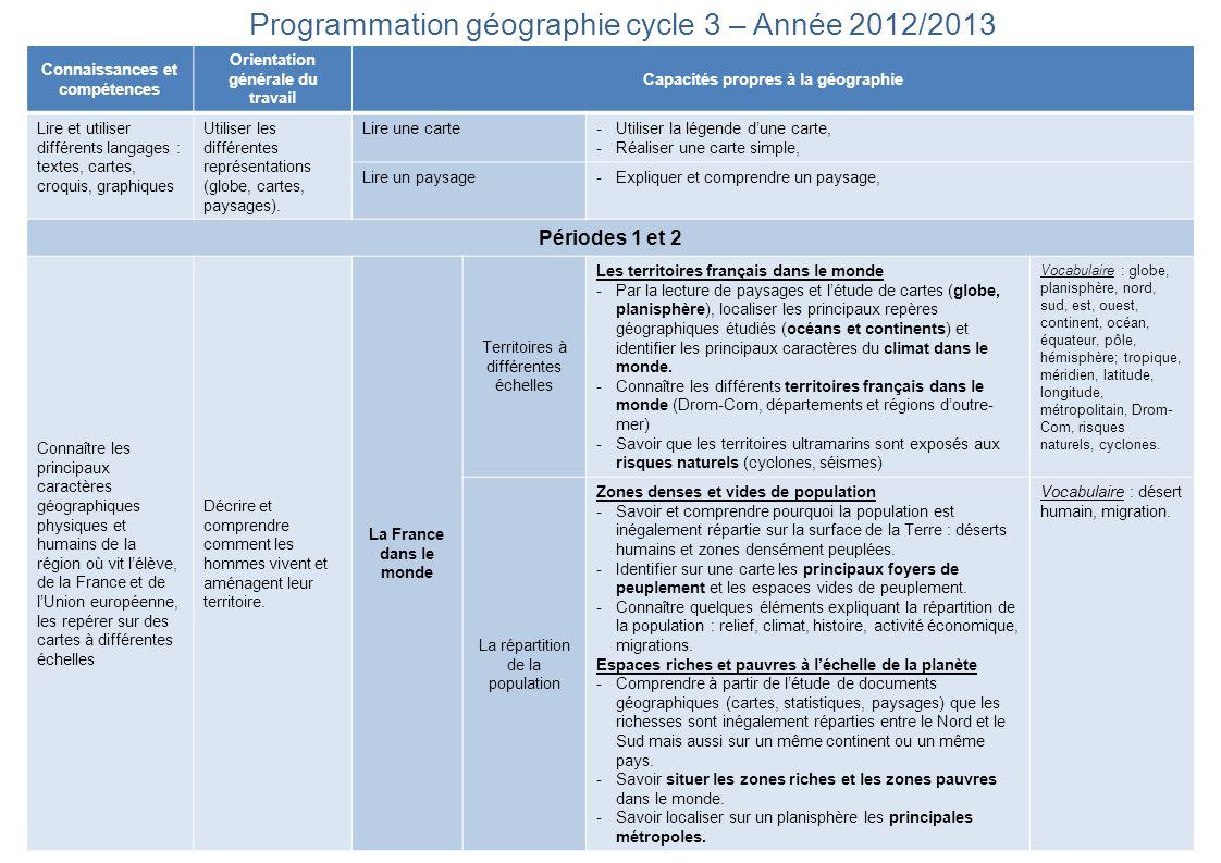 Programmation géographie cycle 3 – Année 2012/2013