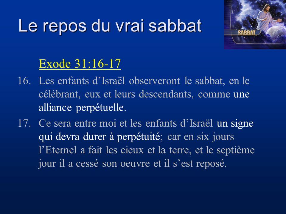 Le repos du vrai sabbat Exode 31:16-17