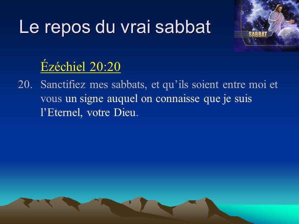 Le repos du vrai sabbat Ézéchiel 20:20