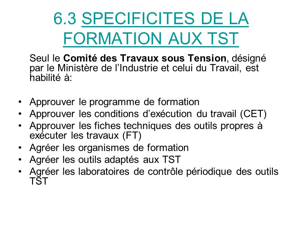 6.3 SPECIFICITES DE LA FORMATION AUX TST
