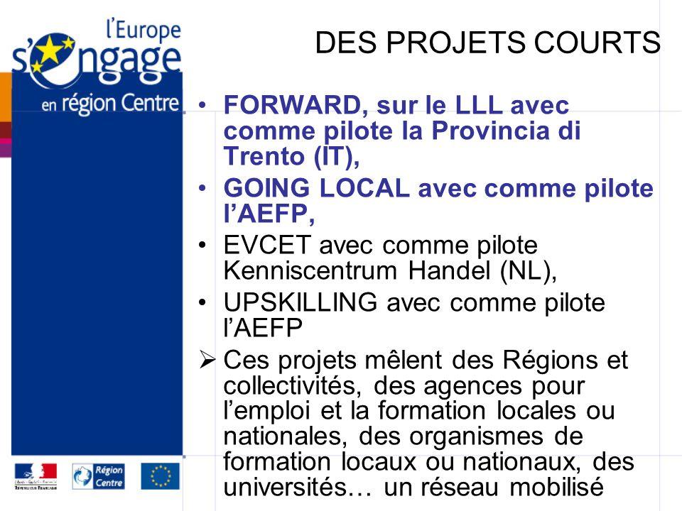 DES PROJETS COURTS FORWARD, sur le LLL avec comme pilote la Provincia di Trento (IT), GOING LOCAL avec comme pilote l'AEFP,
