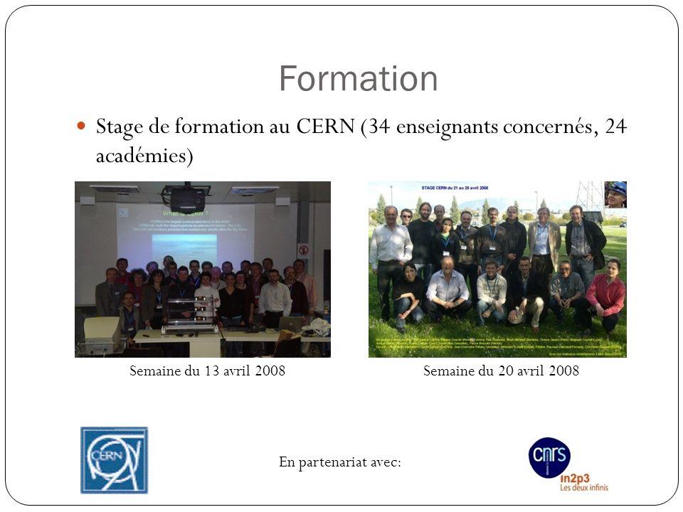 Formation Stage de formation au CERN (34 enseignants concernés, 24 académies) Semaine du 13 avril 2008.