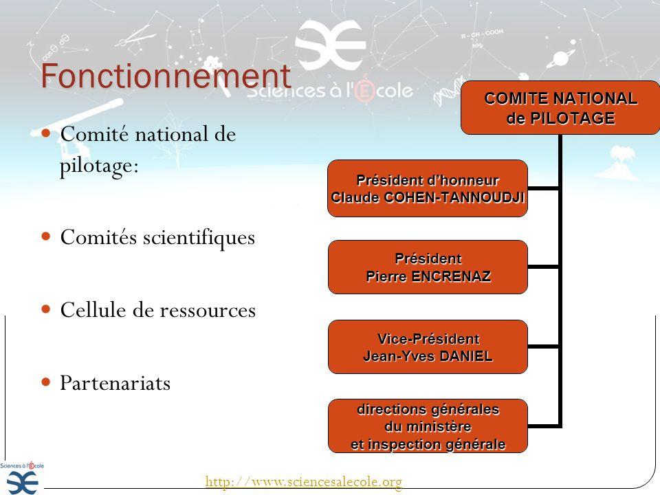 Fonctionnement Comité national de pilotage: Comités scientifiques