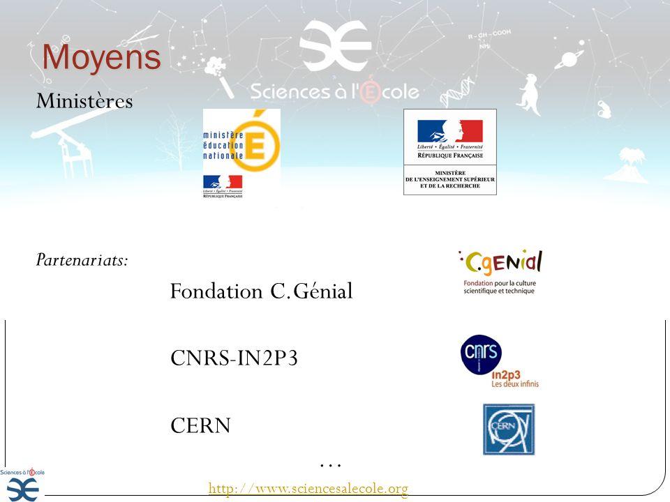 Moyens Ministères Fondation C.Génial CNRS-IN2P3 CERN … Partenariats: