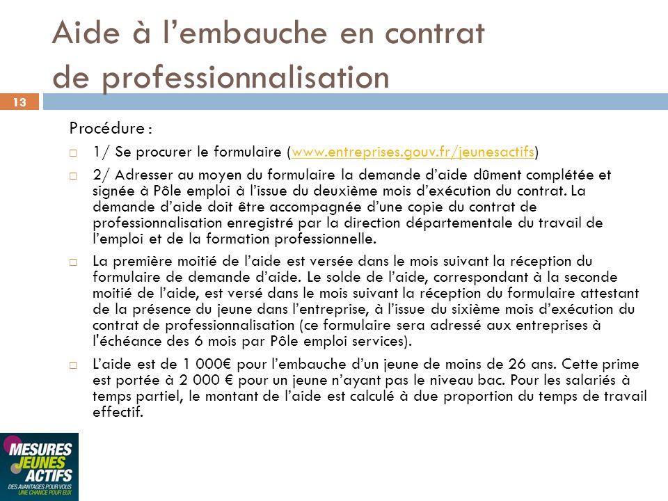 Aide à l'embauche en contrat de professionnalisation