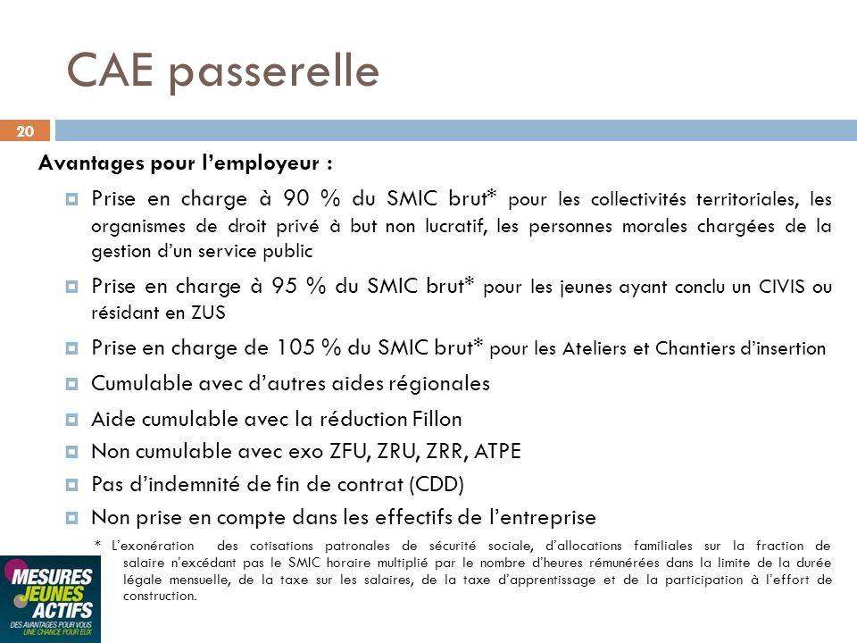 CAE passerelle Avantages pour l'employeur :