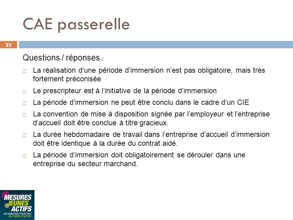 CAE passerelle Questions / réponses :