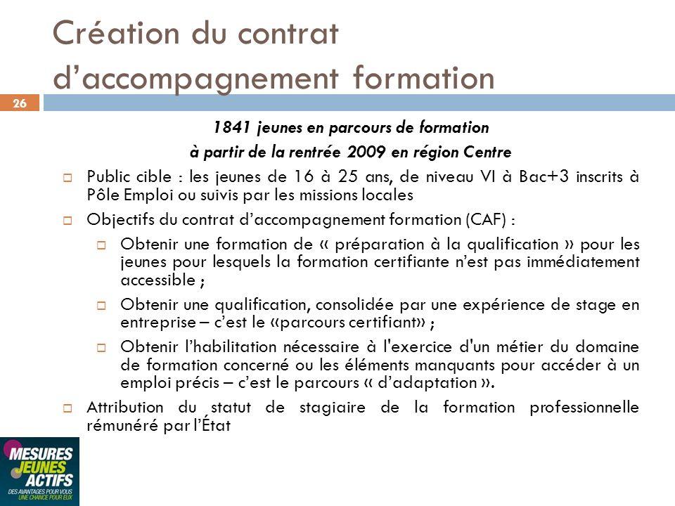 Création du contrat d'accompagnement formation