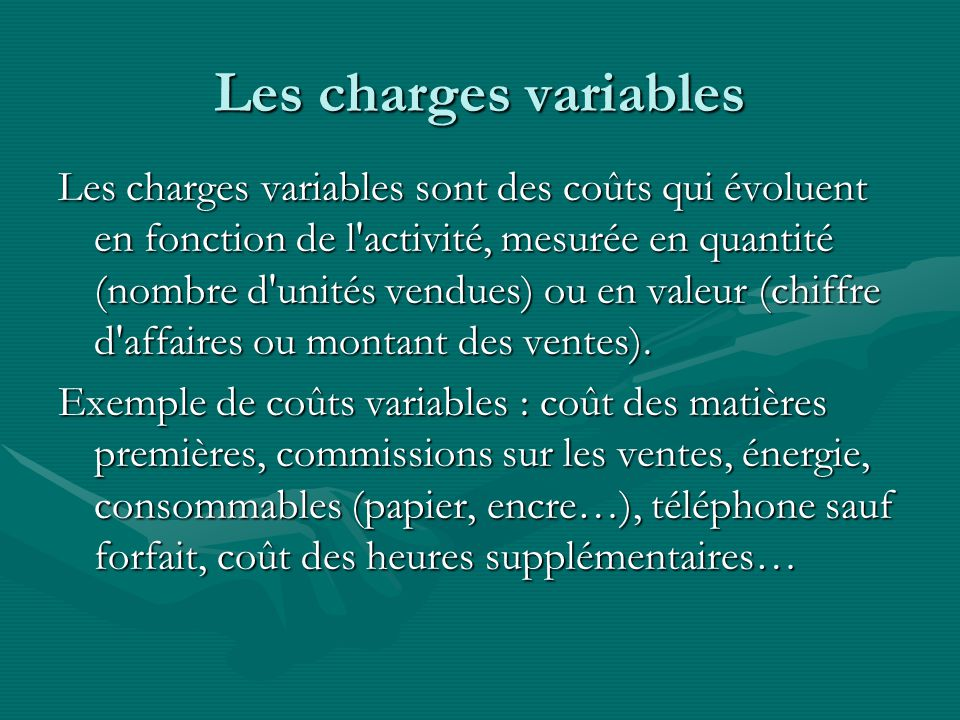 Les charges variables