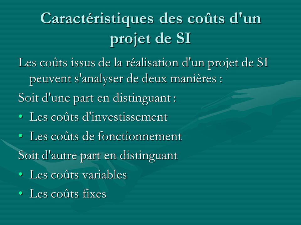 Caractéristiques des coûts d un projet de SI