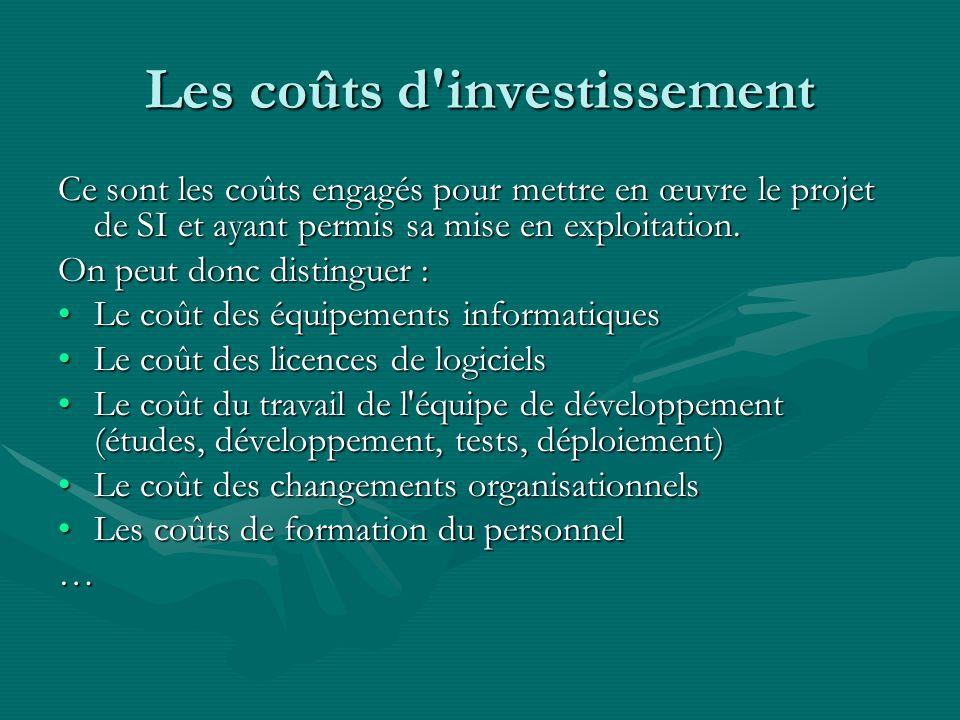 Les coûts d investissement