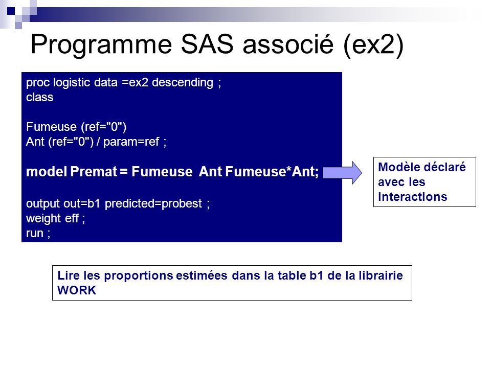 Programme SAS associé (ex2)