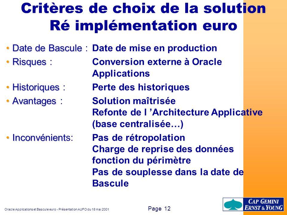 Critères de choix de la solution Ré implémentation euro