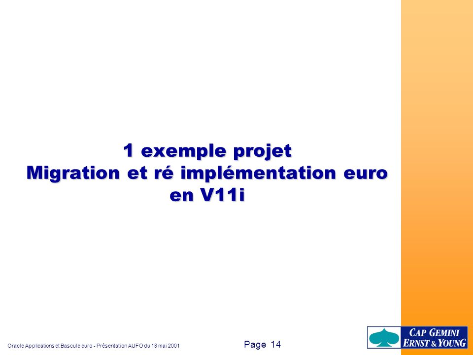 1 exemple projet Migration et ré implémentation euro en V11i