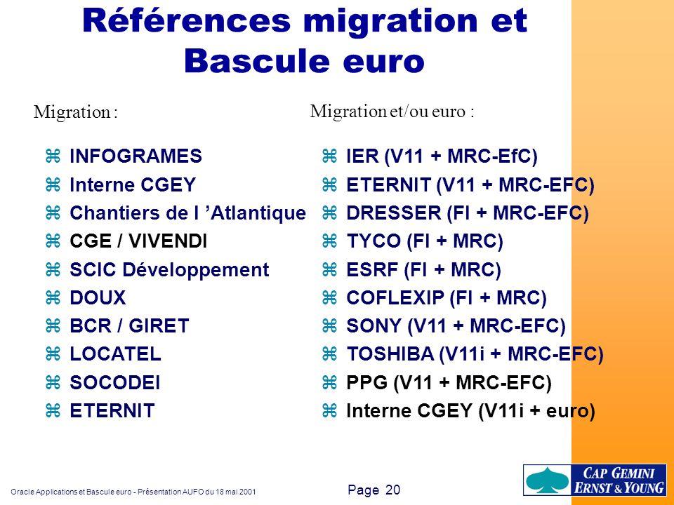 Références migration et Bascule euro
