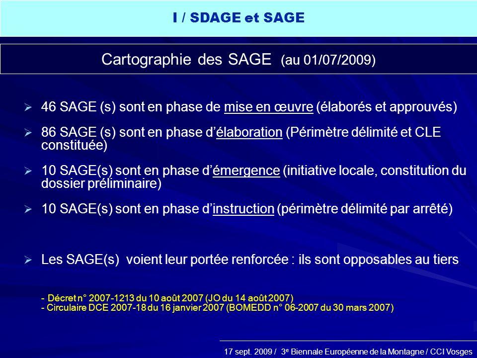 Cartographie des SAGE (au 01/07/2009)