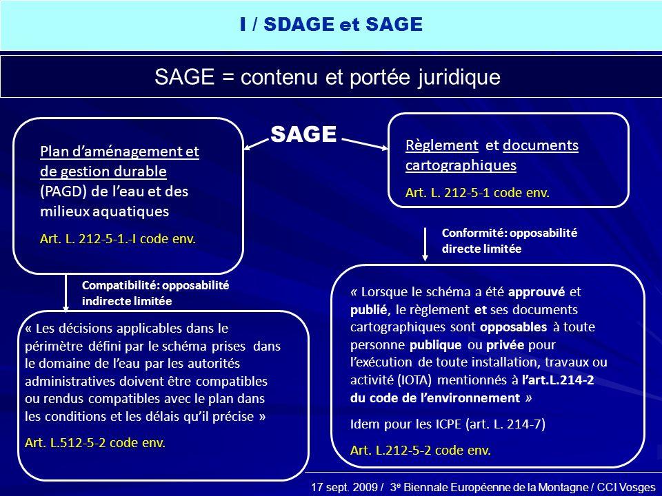 SAGE = contenu et portée juridique
