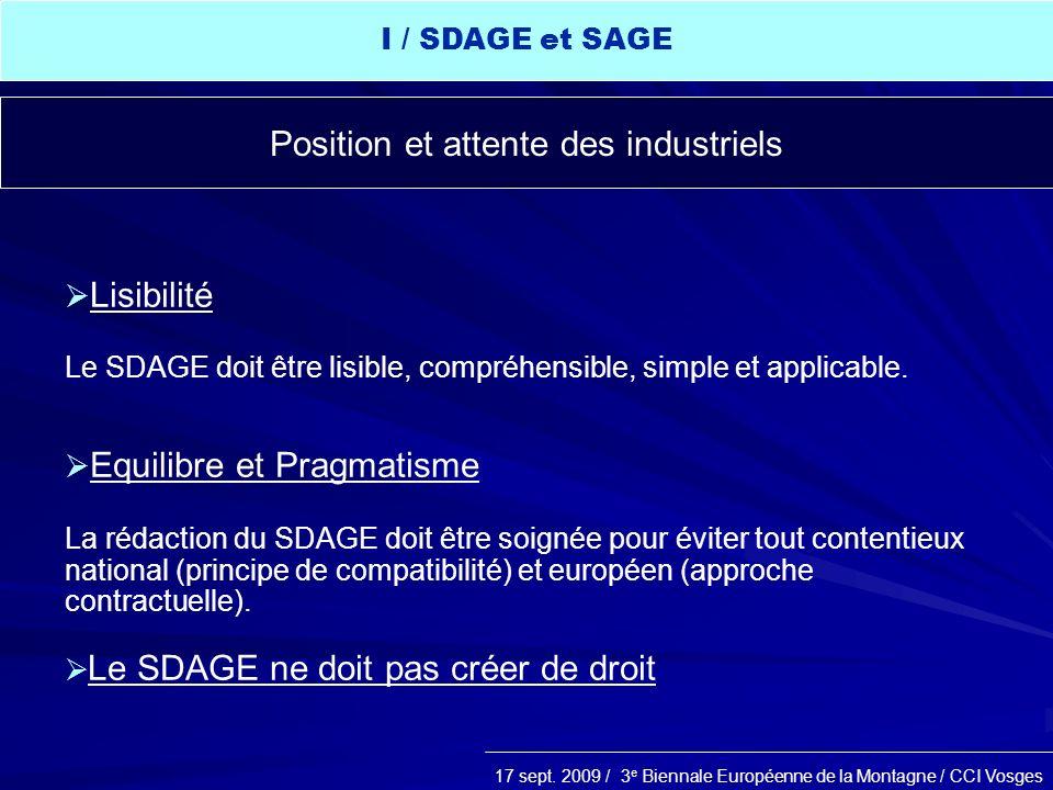 Position et attente des industriels