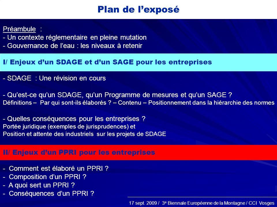 Plan de l'exposé Préambule :