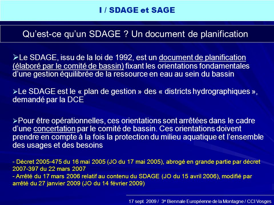Qu'est-ce qu'un SDAGE Un document de planification